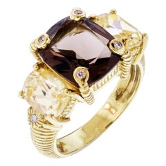 Judith Ripka Smokey Topaz Yellow Quartz Diamond Gold Ring