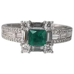 18 Karat Emerald and Diamond Ring