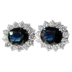 Estate Natural Blue Sapphire Diamond Earrings 18 Karat