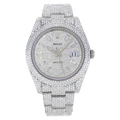 Rolex Datejust II 116300 Custom Diamonds 30cts 2008 Steel Automatic Mens Watch