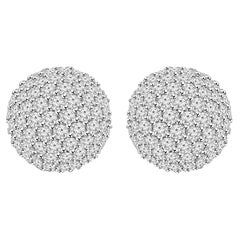 2 Carat Round Cut Diamond Half Ball Earrings 18 Karat White Gold Setting