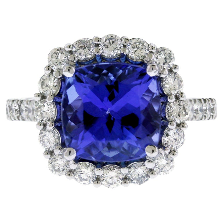 Tanzanite White Gold and Diamond Ring For Sale