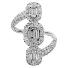 Baguette and Round Diamond White Gold Bypass Ring