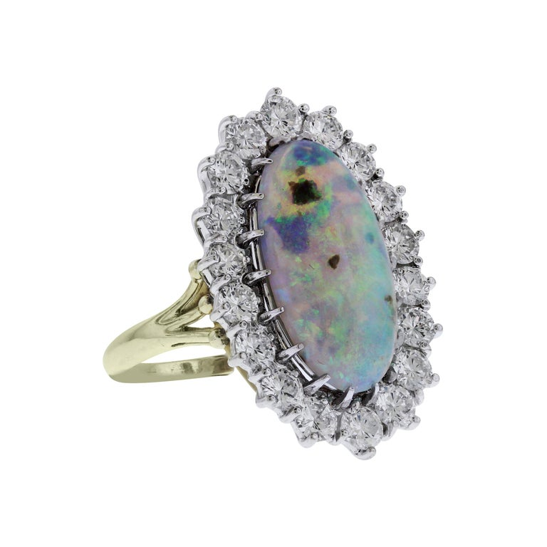 Black Opal and Diamond Two-Tone Gold Cocktail Ring For Sale