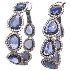 Ruchi New York Rose Cut Blue Sapphire and Pavé Diamond Hoops