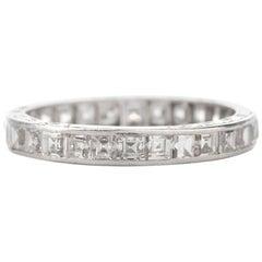 Antique 1920s Square Diamond Platinum Eternity Band Ring