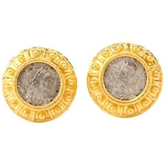 Elizabeth Locke Greek Coin 19 Karat Yellow Gold Earrings
