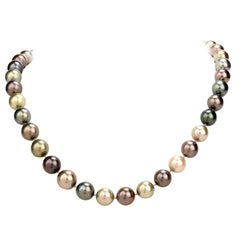 1980s South Sea Peacock Pearl Diamond Strand Necklace