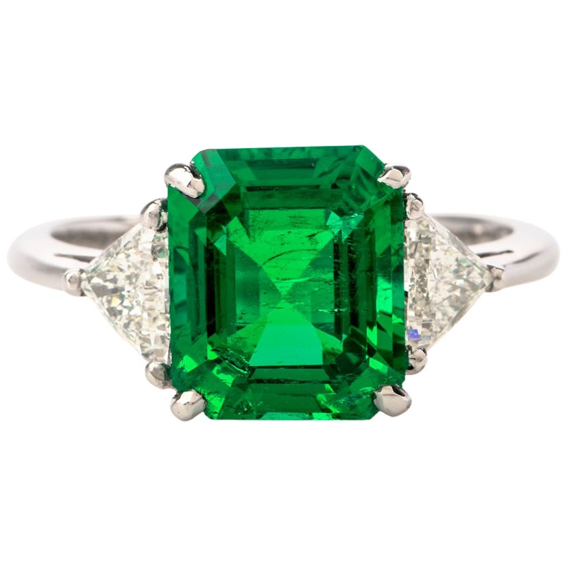 Mayors Certified 3.03 Carat Colombian Emerald Diamond Platinum Cocktail Ring