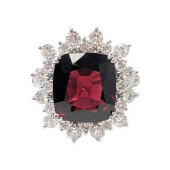 GIA No Heat Burma Red Spinel Cushion and White Diamond Cocktail Ring in Platinum