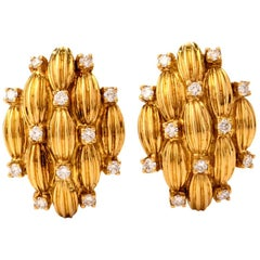 1970s Diamond 18 Karat Yellow Gold Clip Back Earrings