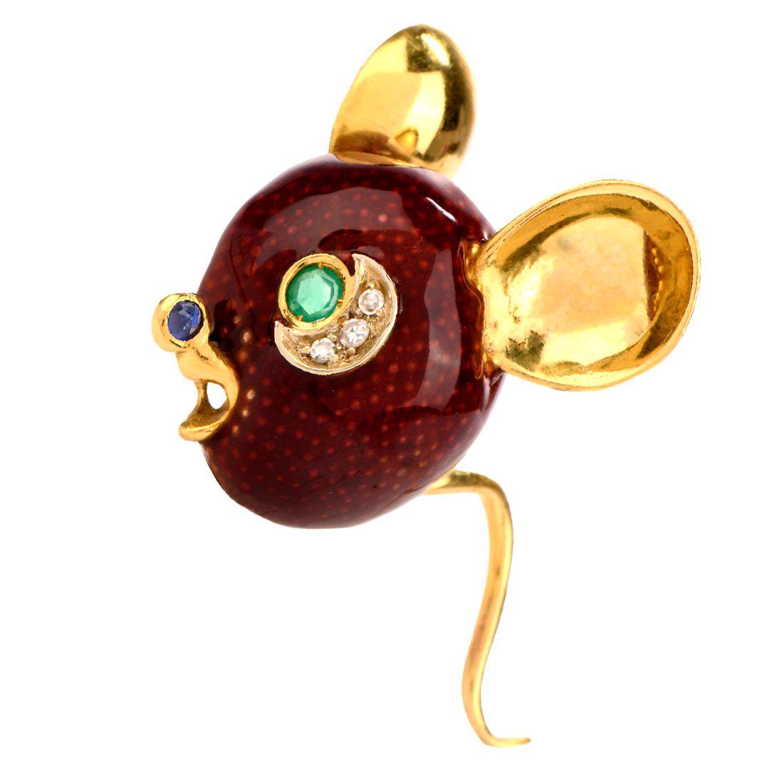 Frascarolo Vintage Mouse Diamond Emerald Enamel 18 Karat Gold Pin Brooch