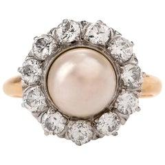 Antique Victorian Pearl Diamond 14 Karat Yellow Gold Ring