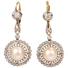 1930s Pearl Diamond Floral Italian 18 Karat Gold Drop Earrings