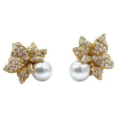18 Karat Gold and Diamond Flower Shaped Earrings with Huge South Sea Pearl