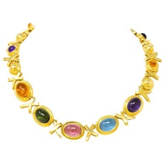 Paloma Picasso Tiffany & Co. 1983 Multi Gem 18 Karat Gold Forever X-Necklace