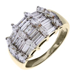 Baguette and Round Diamond Gold Ring