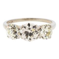 Antique 1930s Platinum Old European Cut Diamond Three-Stone Ring