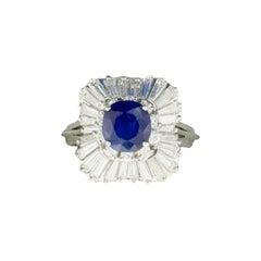 18K White Gold Sapphire and Diamond Ballerina Ring