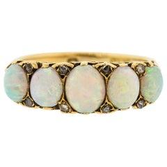 Antique English 18 Karat Yellow Gold Opal Five-Stone Ring