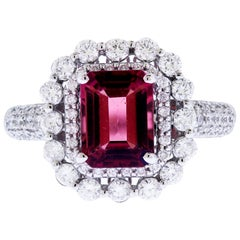 Red Tourmaline and Diamond White Gold Cocktail Ring