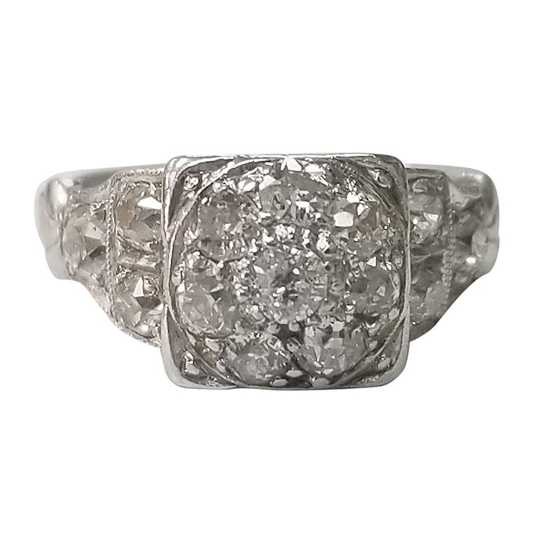 "Platinum ""Vintage"" Diamond Cluster Ring"