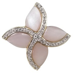 "14 Karat Pink ""Mother of Pearl"" and Diamond Ring"
