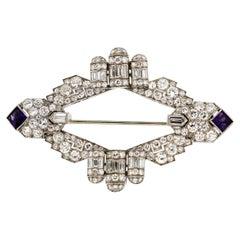 Antique Art Deco Platinum Diamond Amethyst Moveable Brooch