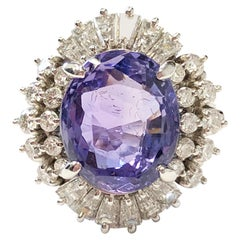 Purplish Blue Sapphire Oval and White Diamond Cocktail Ring in Platinum