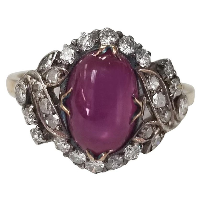 """Natural Corundum """"Burma"""" Star Ruby and Diamond Ring AGL Certified For Sale"""