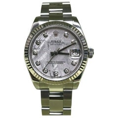 Rolex Midsize 178274 Meteorite Diamond Dial Stainless 18 Karat Gold Box Paper