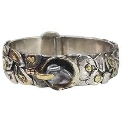 14 Karat and Silver Pearl Bracelet