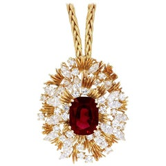 Asprey 7.64 Carat Ruby Diamond and Yellow Gold Pendant Necklace