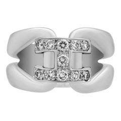 """Hermes 18 Karat White Gold Diamond """"H"""" Ring"""