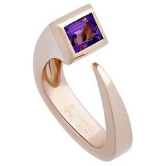 Hermès 18 Karat Rose Gold Purple Amethyst Ring