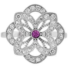 Louis Vuitton 18 Karat White Gold Diamond and Pink Sapphire Flower Ring