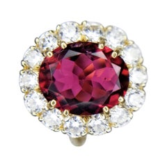 3.10 Carat Oval Rubelite and Diamond Cocktail Ring in 18 Karat Yellow Gold