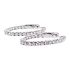 1.98 Carat Total Diamond In and Out Hoop Earrings in 14 Karat White Gold