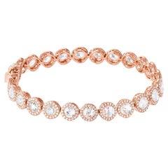 15 Carat Rose Gold Round Diamonds Tennis Bracelet 18 Karat