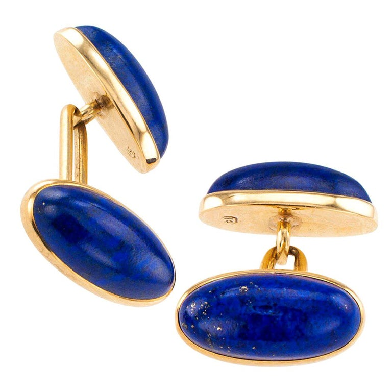 Antique Lapis Lazuli Double Sided Gold Cufflinks For Sale