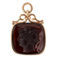 Antique Mythological Carved Carnelian Gold Fob