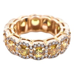 14 Karat Yellow Gold Sapphire and Diamond Eternity Band