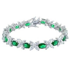 Diamond and Tourmaline Bracelet 18 Karat White Gold