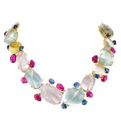 Aquamarine Beryl Diamond Sapphire Tourmaline Gold Necklace