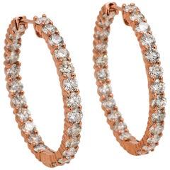 18 Karat Rose Gold Inside Outside Diamond Hoop Earrings