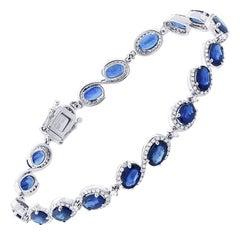 Blue Sapphire Diamond Bracelet 18 Karat White Gold