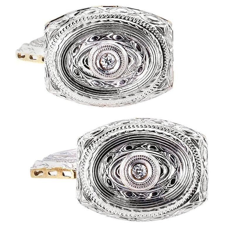 Art Deco Diamond Gold Cufflinks For Sale