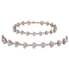 Heart Shapes Diamonds Bracelets 18 Karat Rose Gold