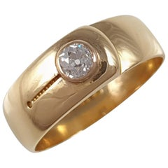 Victorian 18 Karat Yellow Gold and Diamond Buckle Ring Chester, 1884