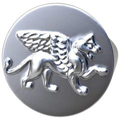 Sterling Winged Griffin Lion Signet Ring